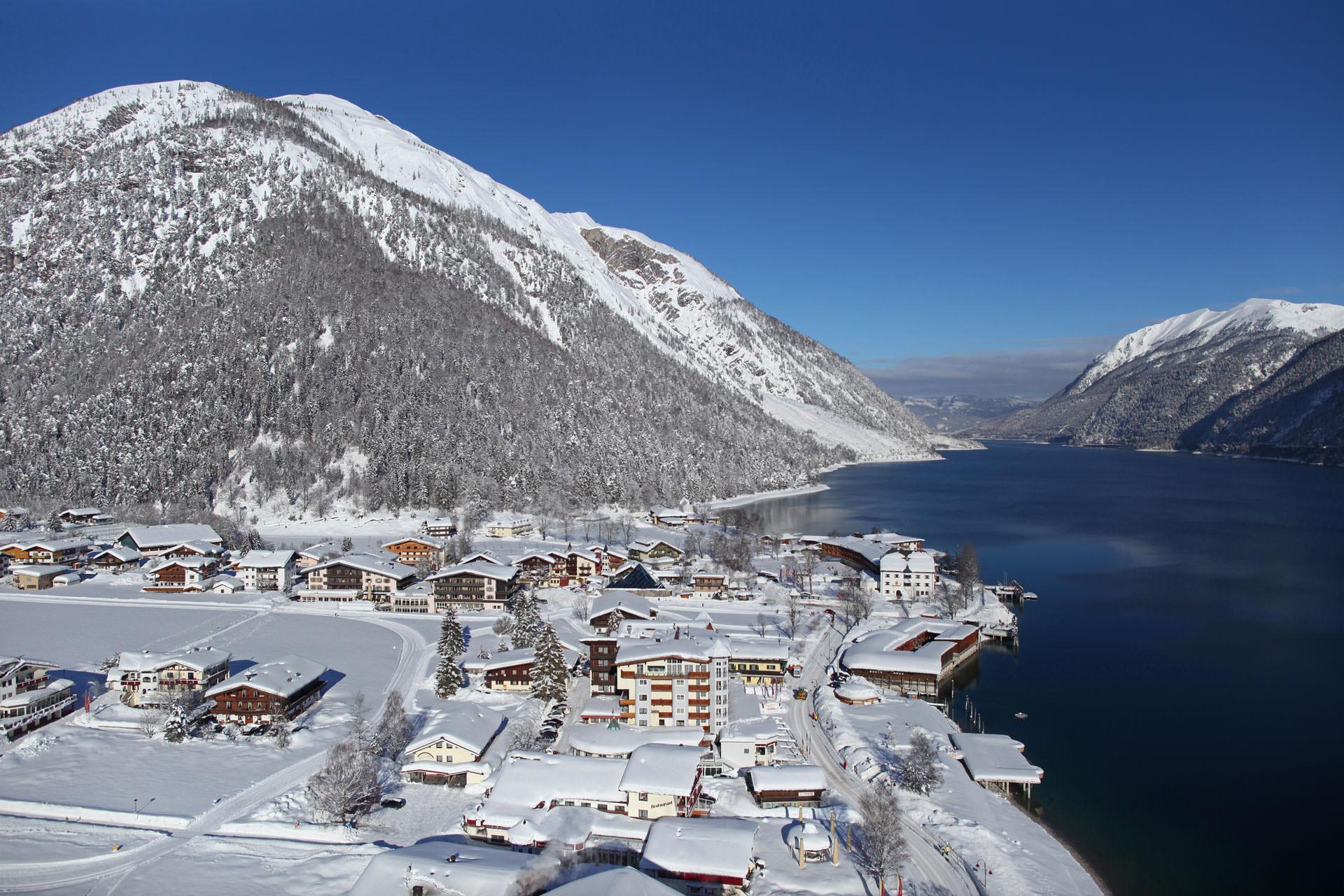 Winter landscape on a lake
