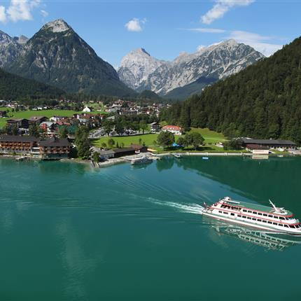 Arial view of Pertisau on the lake