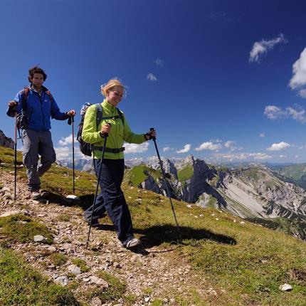 Wanderer beim Abstieg