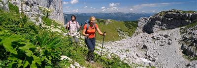 Hikers in stony mountains