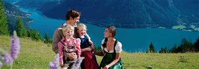 Happy family in the mountains